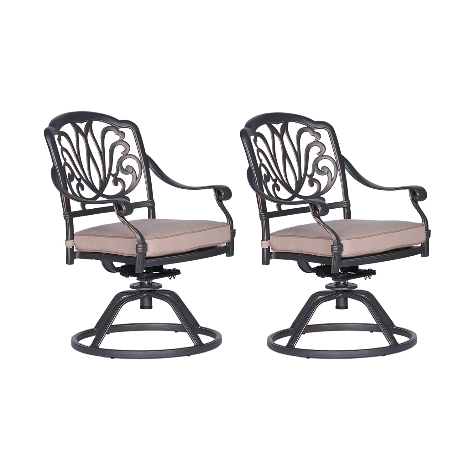 Admirable Amazon Com Ipatio Athens Dining Swivel Rocker Chairs With Alphanode Cool Chair Designs And Ideas Alphanodeonline