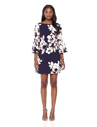 36f5c6b7 Eliza J Women's Bell Sleeve Floral Dress (Regular & Petite), Navy/Blush