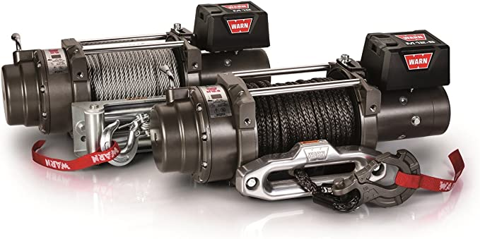 Amazon Com Warn 97720 M12 S Electric 12v Heavyweight Winch With Spydura Synthetic Cable Rope 3 8 Diameter X 100 Length 6 Ton 12 000 Lb Pulling Capacity Automotive