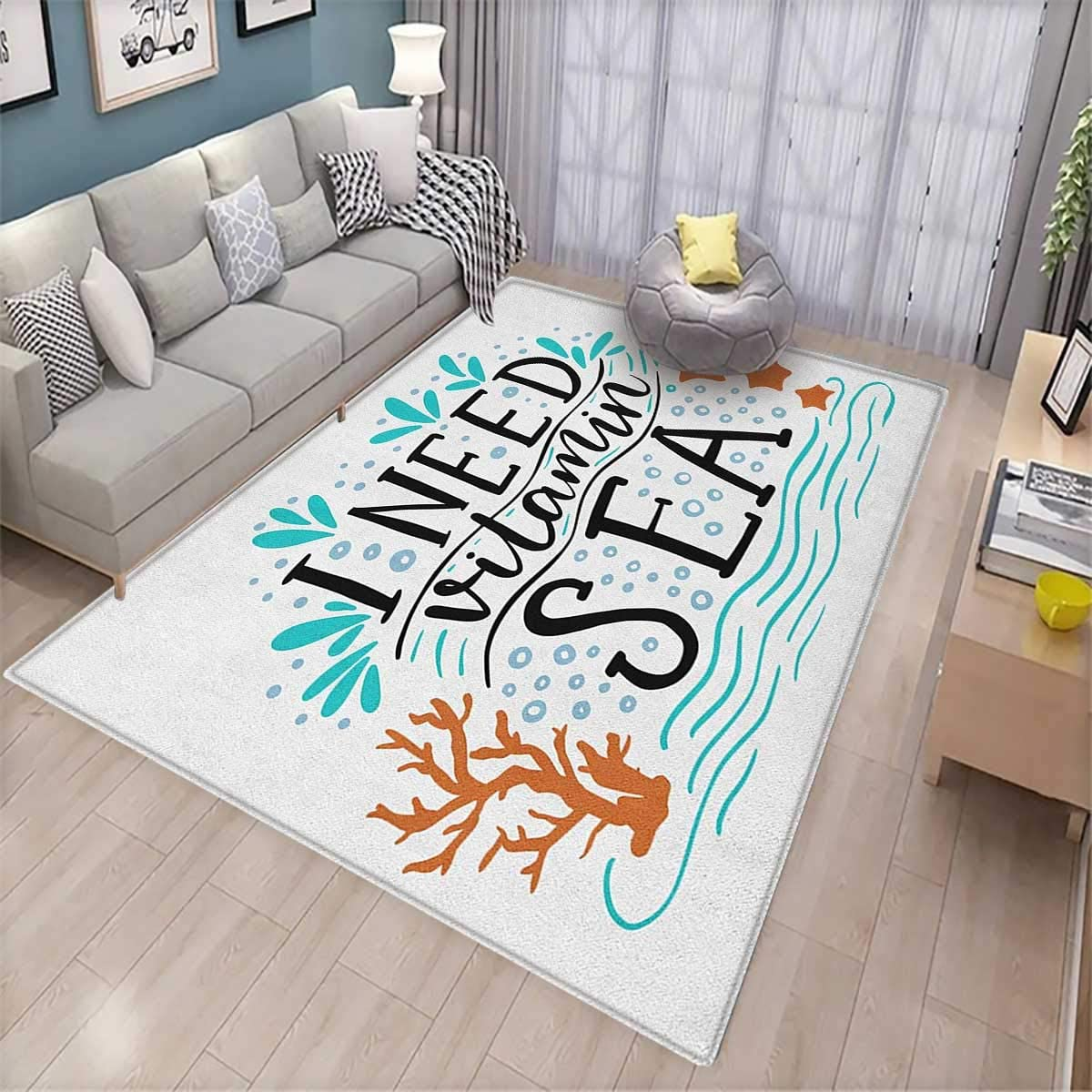 """Sea, Bath Mat 3D Digital Printing Mat, I Need Vitamin Sea Inspirational Quote Hand Drawn with Coral Waves Starfishes Bubbles, for Living Room 5'8""""x8'5"""" Multicolor"""