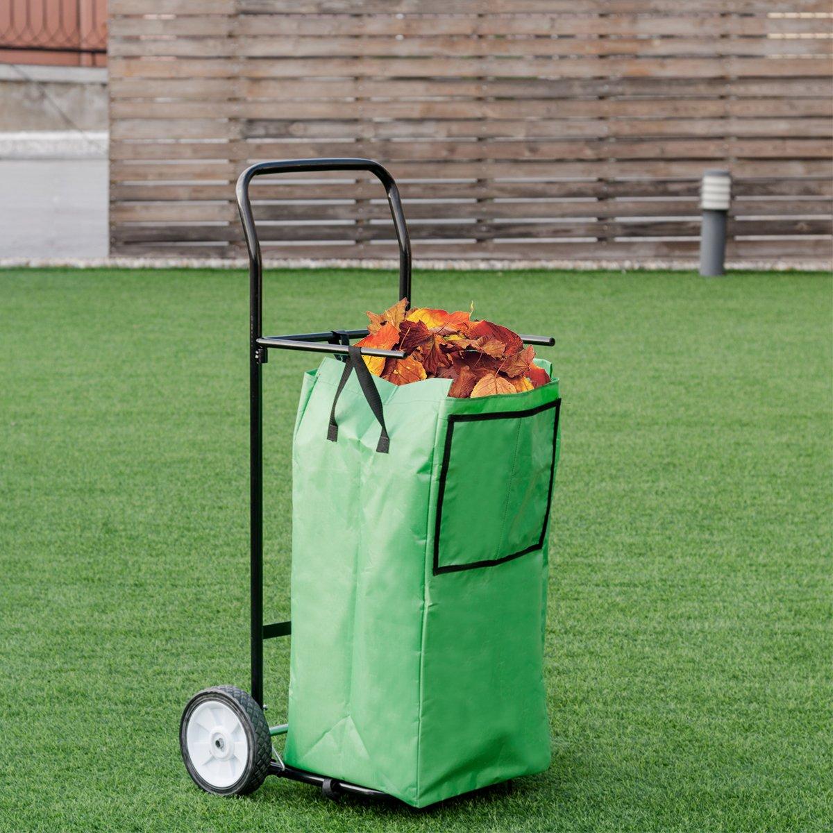 Goplus Portable Gardening Lawn Leaf Bag Detachable Tote Cart Multifunctional Folding Basket w/ Pocket Green by Goplus (Image #2)