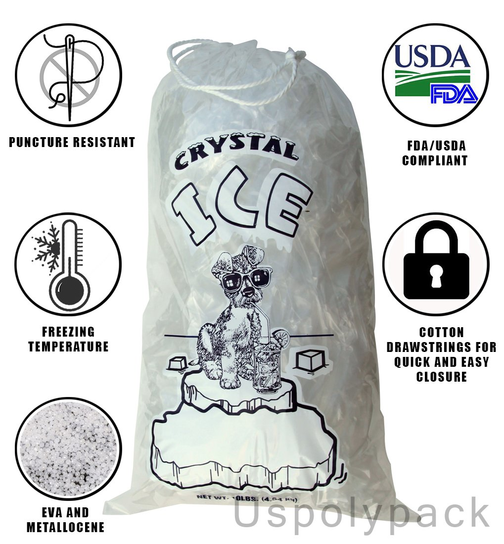 8 lb Ice Bags with Drawstrings 11 in x 18 in x 1.4 mil Case:500 Heavy Duty Commercial Grade by USPolyPack (Image #5)