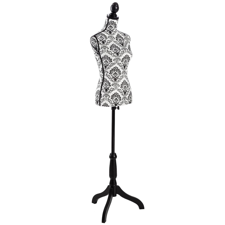TecTake Manichino da sarta busto donna da sartoria | regolabile in altezza: 133 – 168 cm (bianco | no. 402566)
