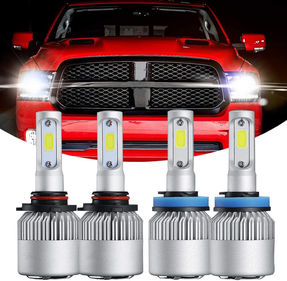 GTP H4 9003 LED Headlight Bulbs Hi-Low Dual Beam All-in-One Conversion Kit Extremely Bright CSP Chip 6000K White 8000LM