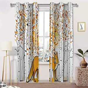 carmaxshome Hunting Decor Curtains for Living Room 96 inch Length, Fox Hunting in Autumn Forest Birch Trees Rustic Wilderness Animal 3 Layer Woven Curtain 2 Panels - Orange White Black