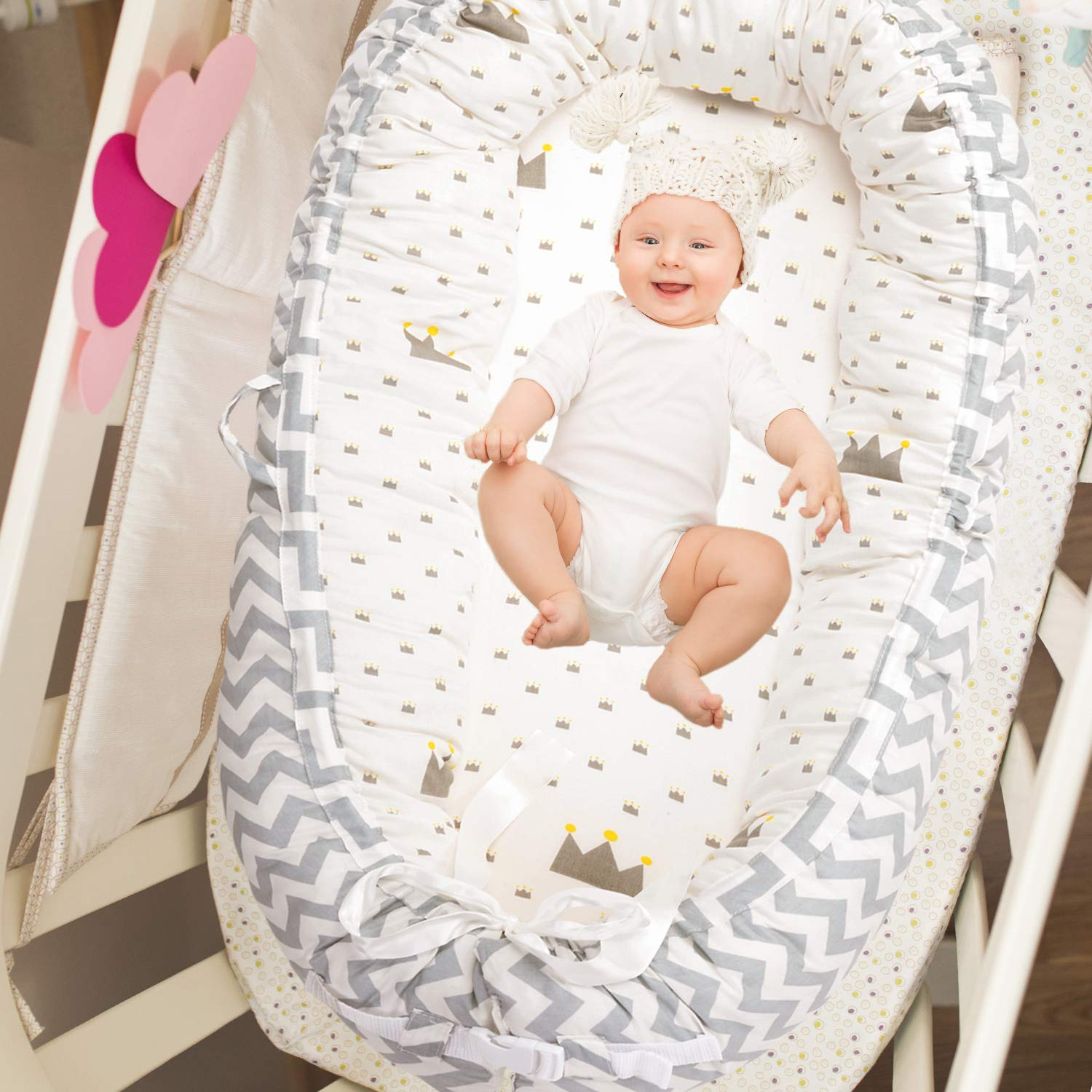 Perfect for Co-Sleeping /… Baby Lounger Moose Portable Super Soft Organic Cotton and Breathable Newborn Lounger Baby Nest