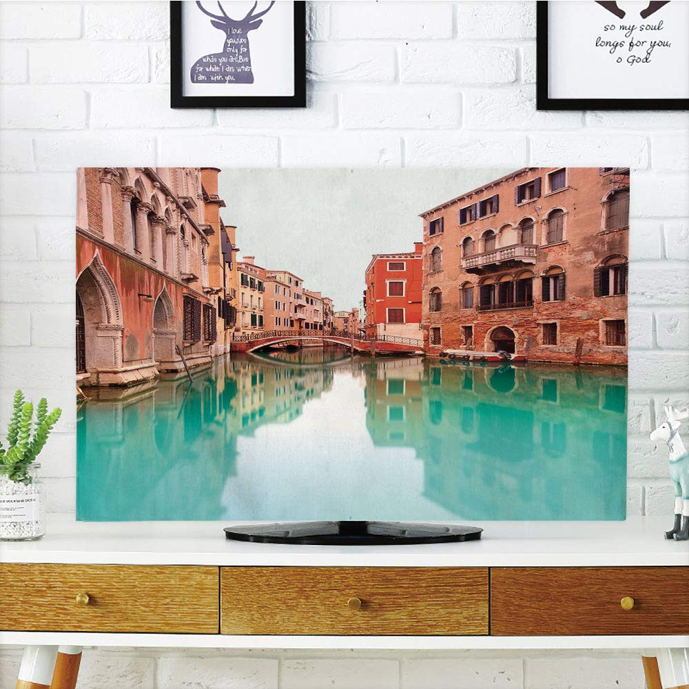 iPrint LCD TV dust Cover Customizable,Venice,Water Canal and Bridge Typical Venetian Architecture Buildings and a Boat,Turquoise Cinnamon,Graph Customization Design Compatible 55'' TV