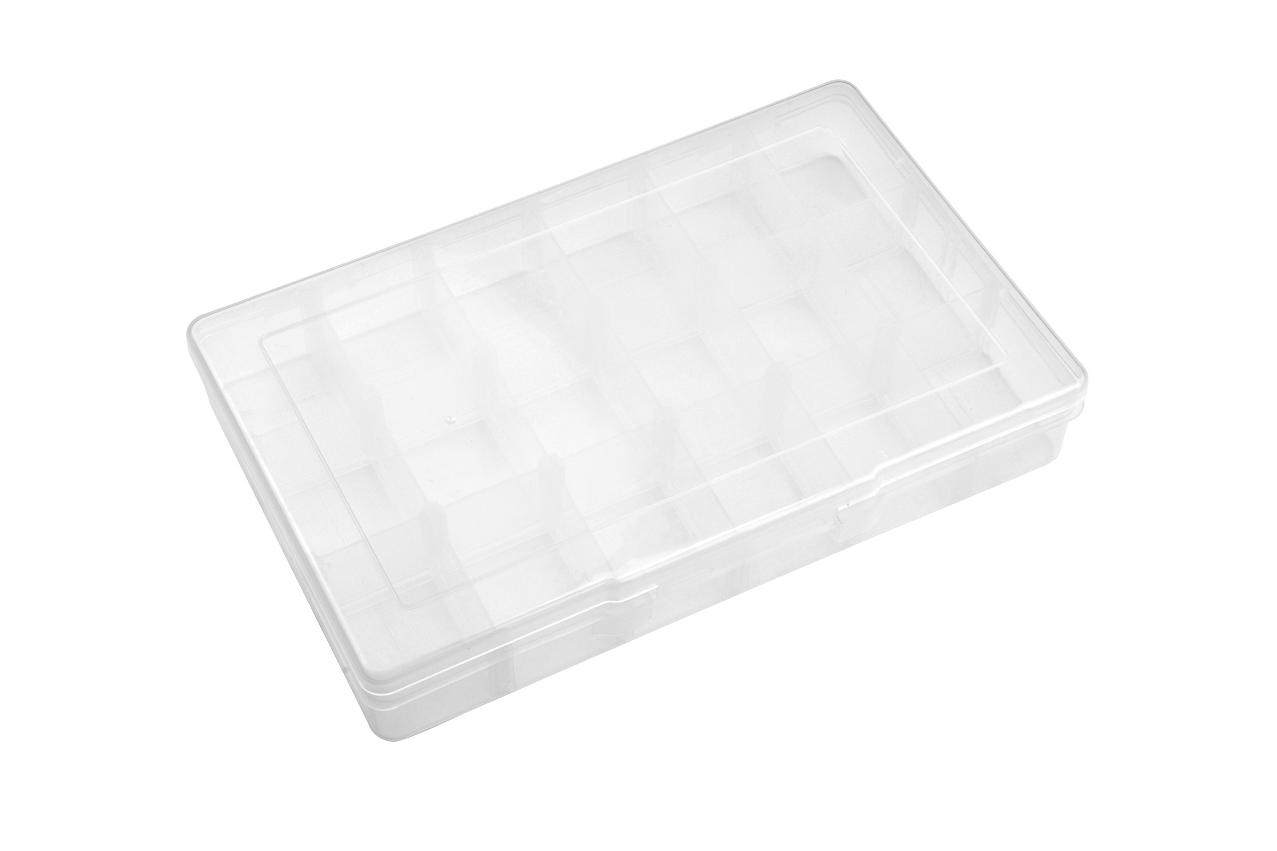 SE 87064DB 18 Adjustable Sections Compartment Plastic Storage Container, 12-1/4'' x 7-3/4'' x 1-3/4'', Large, Translucent