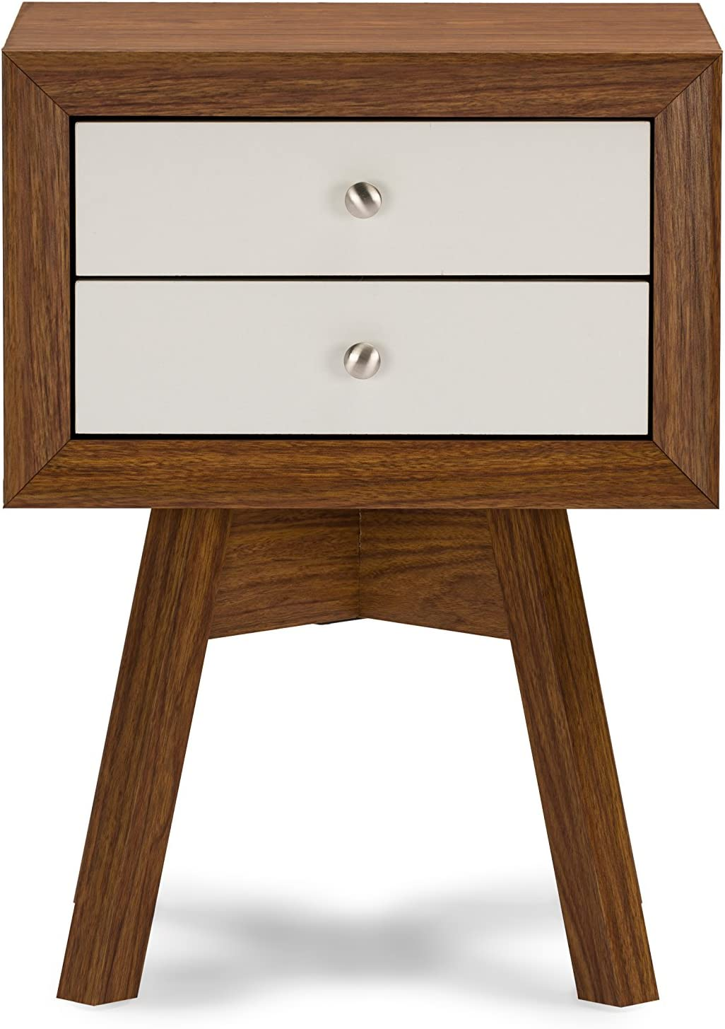 Baxton Studio Warwick Two-Tone Modern Accent Table and Nightstand, Walnut/White