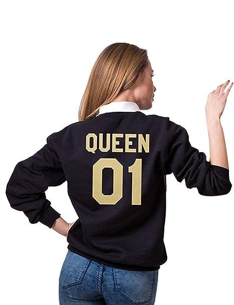 Teamyy Sudaderas para Parejas King and Queen El Rey y La Reina Camiseta Top Negro Mujer: Amazon.es: Ropa y accesorios