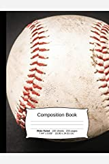 """Baseball Composition Notebook, Wide Ruled: Composition Notebook, Lined Student Writing Journal, Exercise Book, 200 pages, 7.44"""" x 9.69"""" (Sports Series) Paperback"""