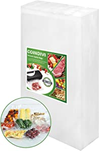 Vacuum Sealer Bags for Food Saver, 100Pcs 5.9''x 9.8'' Reusable Seal A Meal Bags With BPA Free, Coindivi Vacuum Bags Great For Sous Vide,freezer,Storage, Keep Meat, Fruit Fresh, Pre-Cuzt Design