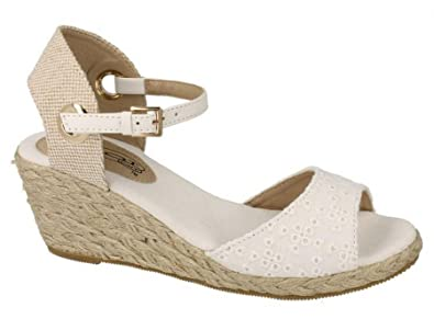81c29fcec9a4 Ladies Womens New Mid Wedge Heel Ankle Strap Espadrille Sandals Shoes Size  3-8 -