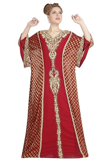 Maxim Creation New Arabian Evening Wear Khaleeji Thobe Kaftan for Women  6187 (XS) Maroon 5a515e92b