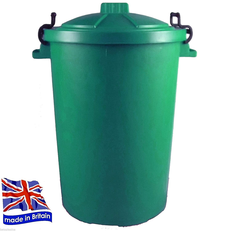 GREEN OUTDOOR PLASTIC WASTE BIN, TRASH CAN, RUBBISH, HEAVY DUTY ...