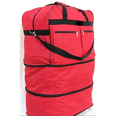 "40"" RED Large Expandable Rolling 6 Wheeled Duffel Bag Spinner Suitcase Luggage"