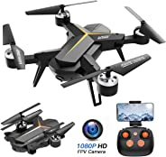 Foldable Drone with 1080P HD Camera for Adults, Voice Control, RC Quadcopter for Beginners with Altitude Hold, Auto Return Ho
