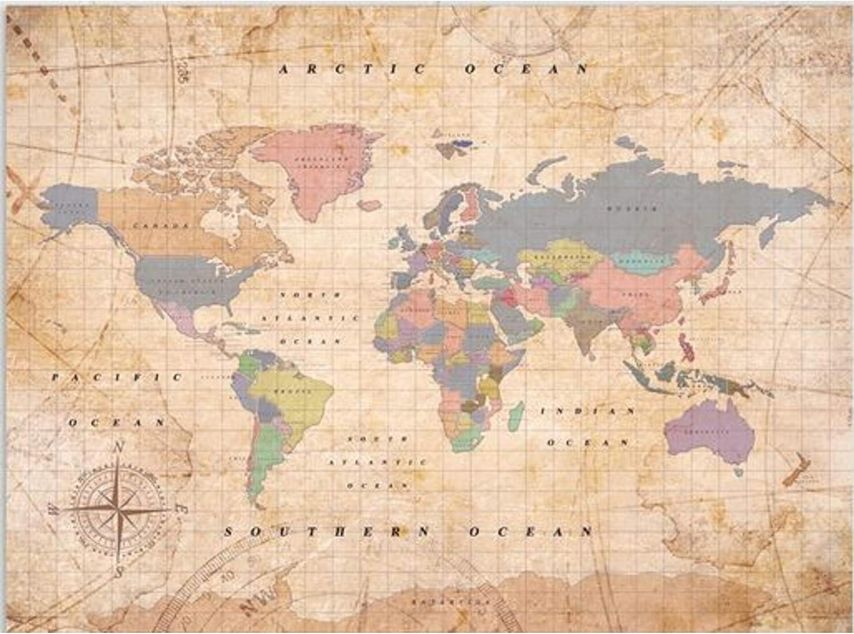 Miss Wood Woody Old School Mapa, Corcho, Multicolor, XL (60 x 90 cm): Amazon.es: Hogar