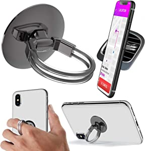 Aduro Cell Phone Ring Holder, 3 in 1 Universal Phone Ring Stand Car Holder, Finger Grip Phone Holder for iPhone, Samsung Phone and Smartphones (Black)
