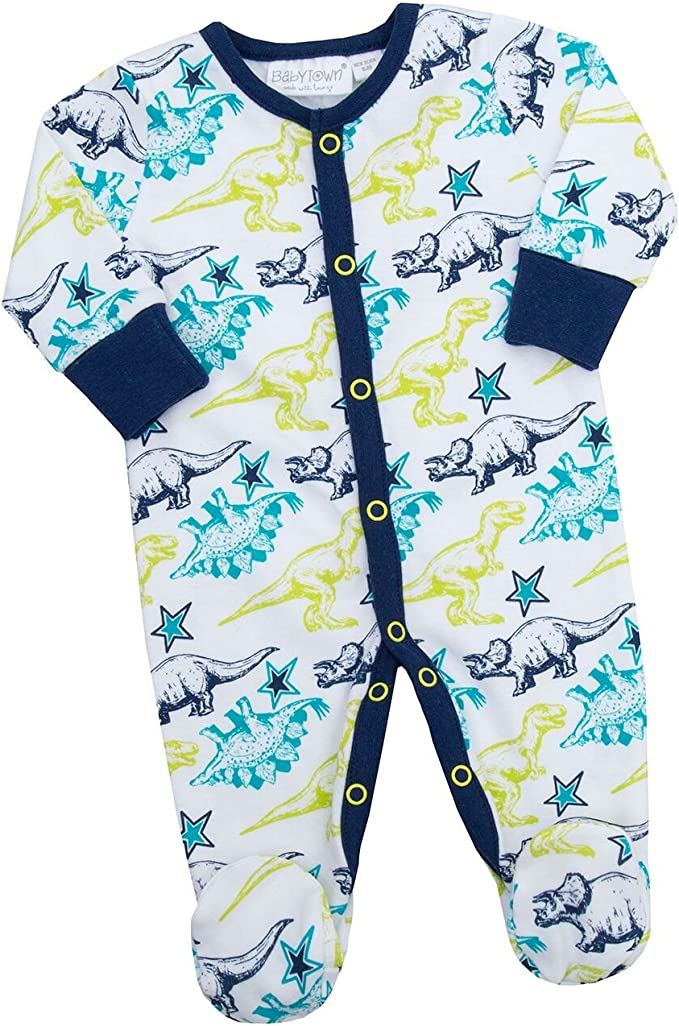 BABY TOWN Babytown Baby Boys Space Star Print Romper with Matching Bib