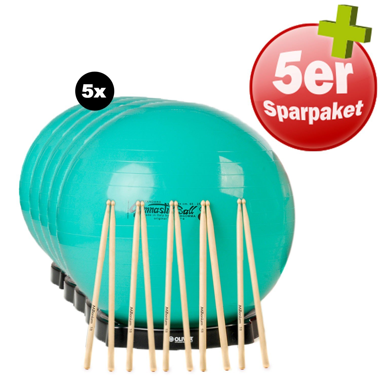 Original Pezzi Ball Gymnastikball 65cm Durchmesser Fitnessball grün Bundle 5er Set plus Drums und Ballschale