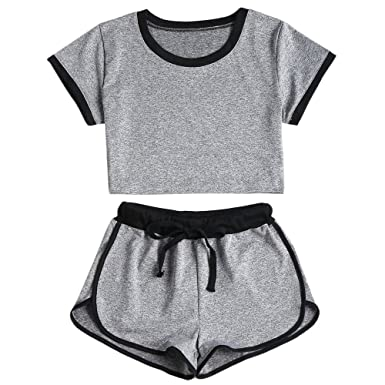 f64a5ae8 ZAFUL Women's Sports Gym Crop Top and Shorts Set 2 Piece Tracksuit ...