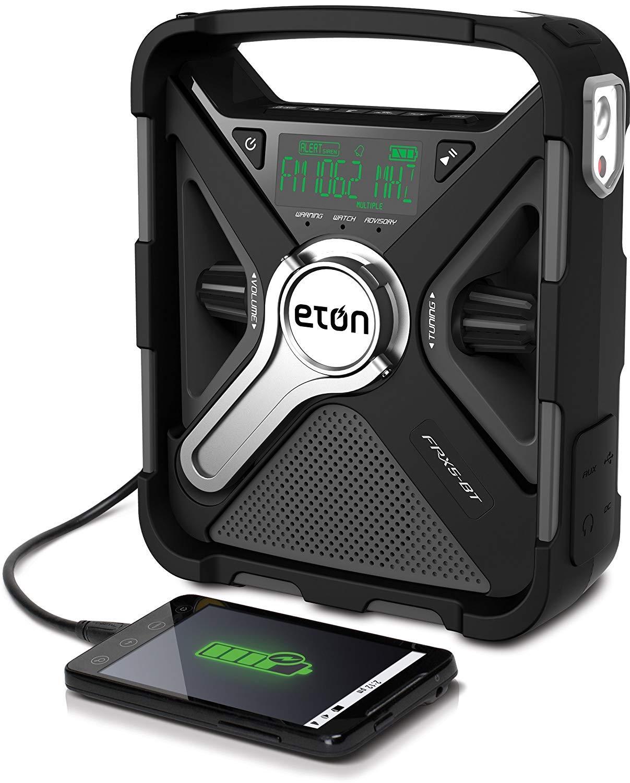 Eton Emergency Weather Bluetooth Radio, Smartphone Charger, Alarm Clock & LED Flashlight, Dual Powered by Eton
