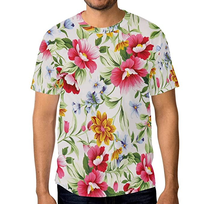 4c2d17c15 Amazon.com: LORVIES Men's Print Of Different Flowers Short Sleeve T ...