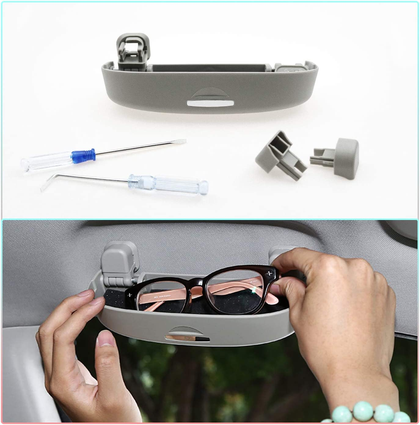 Black CDEFG Car Sunglasses Storage Box Glasses Holder Eyeglasses Storage Case for 2018-2019 C-HR CHR