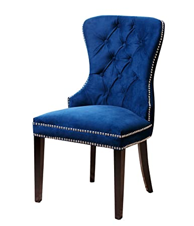 abbyson dubois tufted dining chair navy blue