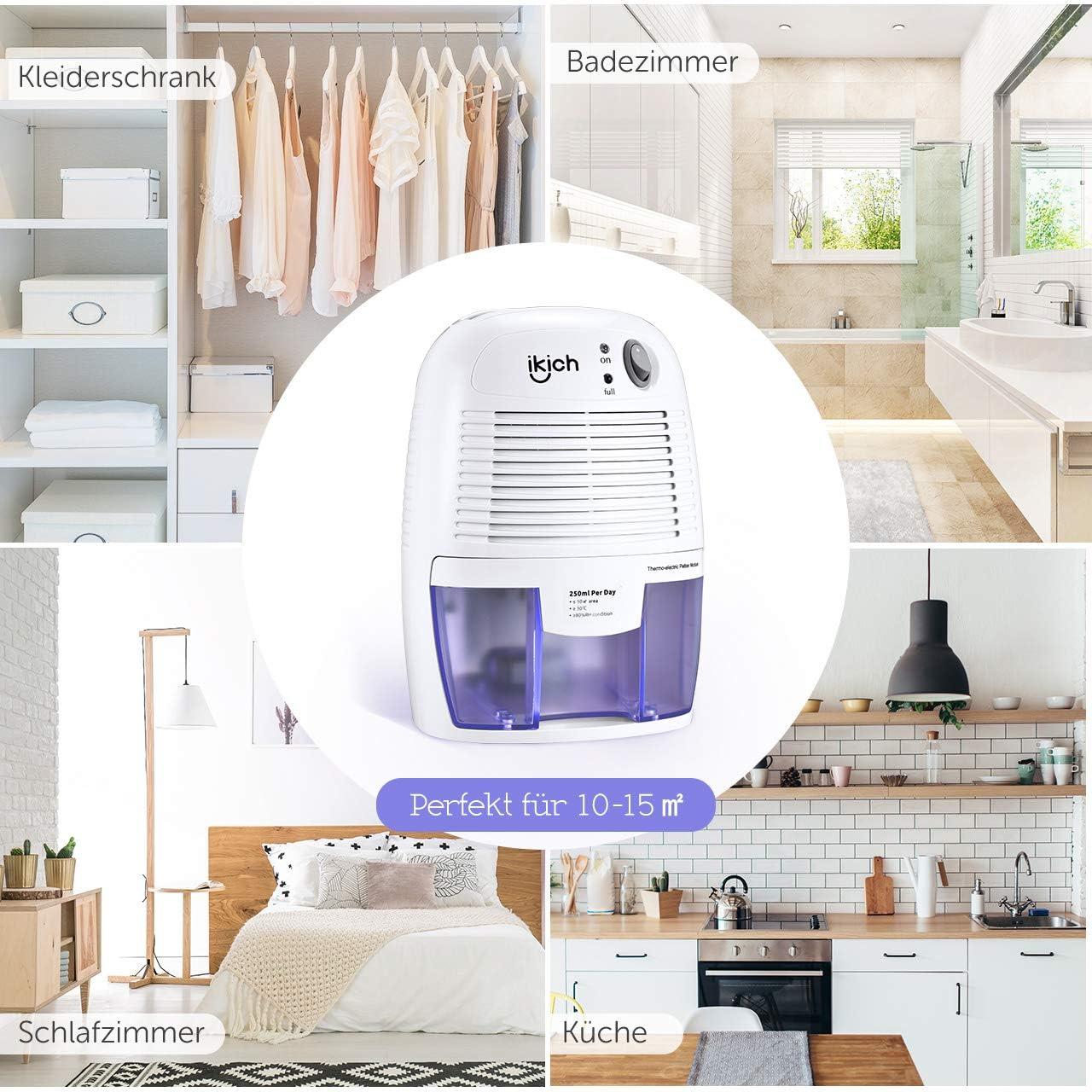 ikich – Deshumidificador portátil con una reserva de 18 ml para las  pequeñas piezas de la casa o la Hotel, Garde Robe, armario zapatero, Baño,  Salles