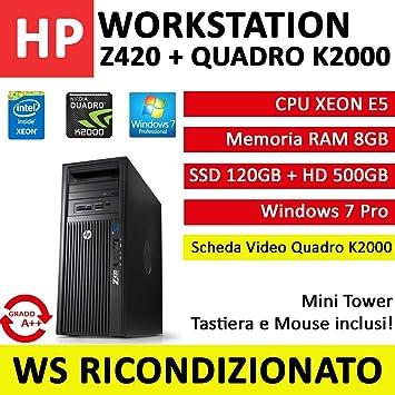 Workstation HP Z420 CPU Intel XEON, RAM 8 GB, SSD 120 GB, Disco ...