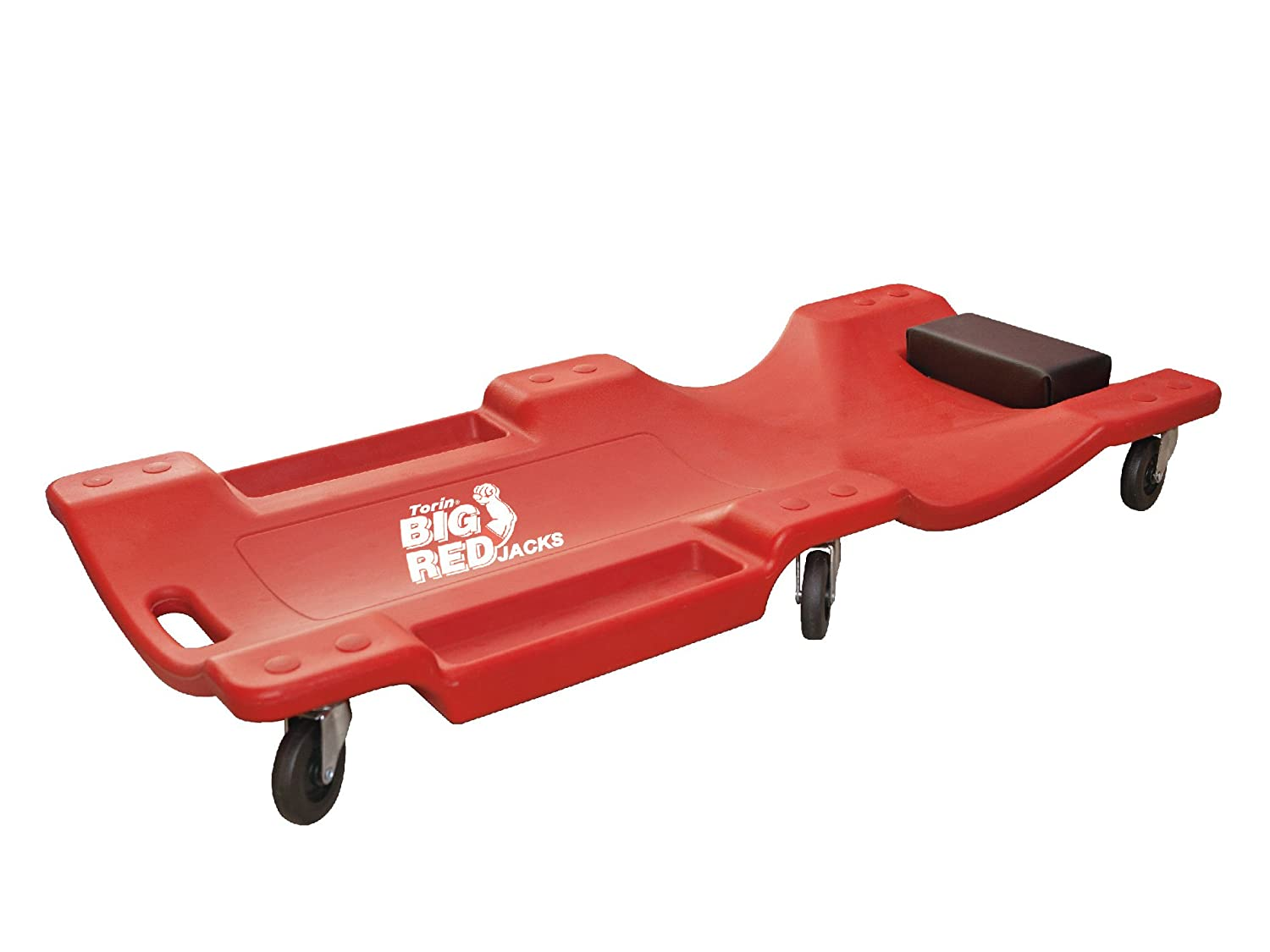 Torin Big Red Rolling Garage/Shop Creeper: 40' Plastic Mechanic Cart with Padded Headrest, Red TRP6240