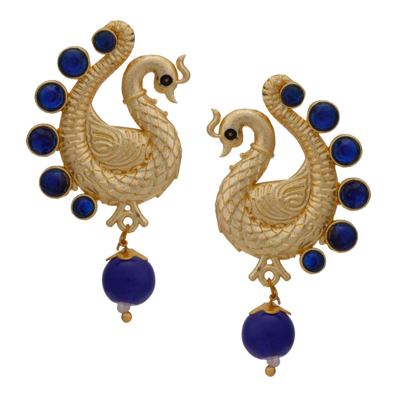 Efulgenz Indian Bollywood 14K Gold Plated Crystal Kundan Pearl Peacock Inspired Dangle Drop Earrings Jewelry Set