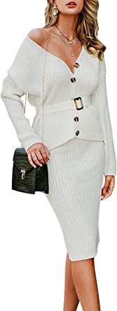 Berrygo Women S Long Sleeve 2 Piece Sweater Dress Button Down Sweater Knit Skirt Set At Amazon Women S Clothing Store