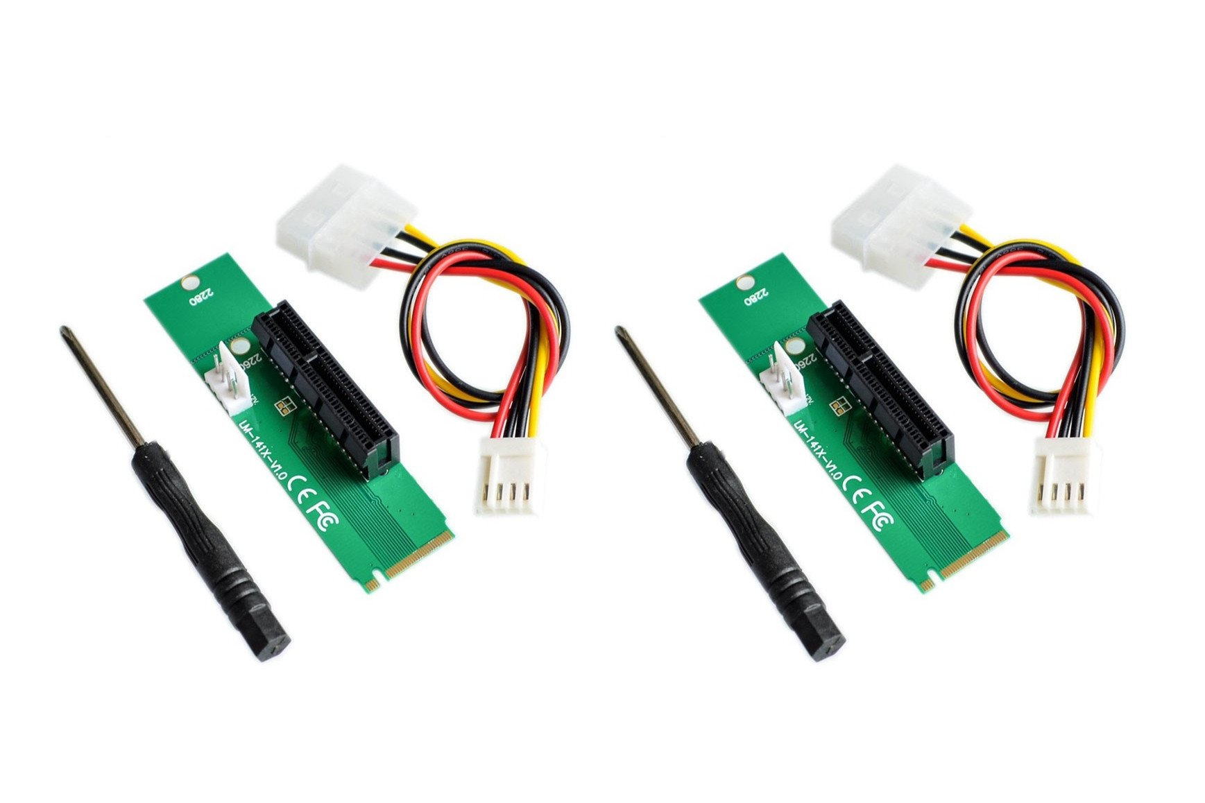 NGFF M.2 to PCI-E PCI Express 4x 1x Slot Riser Card Adapter M.2 Key-M Adapter Converter with 4 PIN Power Cable - 2Pack by NOYITO (Image #1)