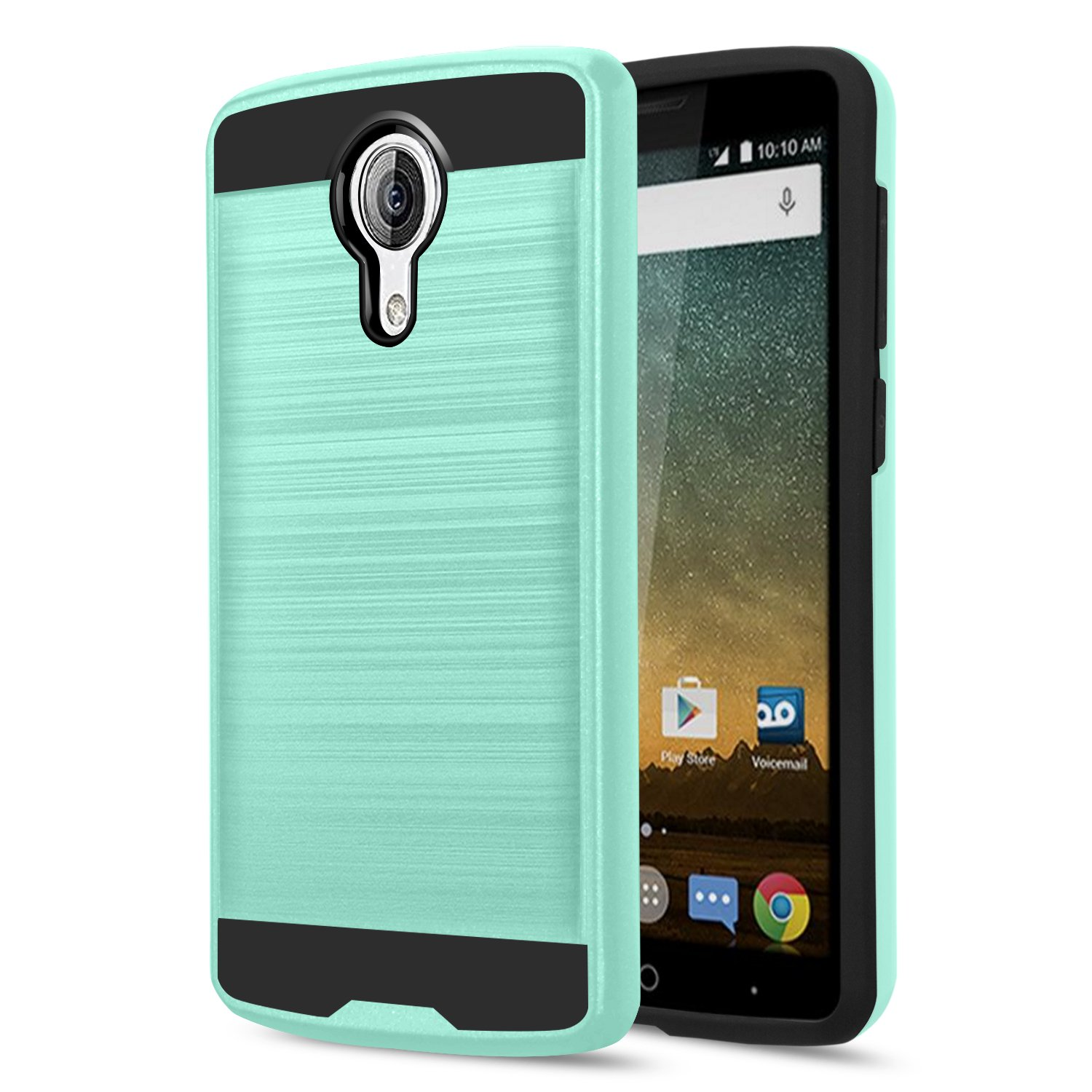 Case Compatible for ZTE N817/ZTE Uhura/Ultra/Quest Case With HD Screen  Protector,AnoKe Scratch Resistant Silicone Rubber Dual Layer Heavy Duty  Shock