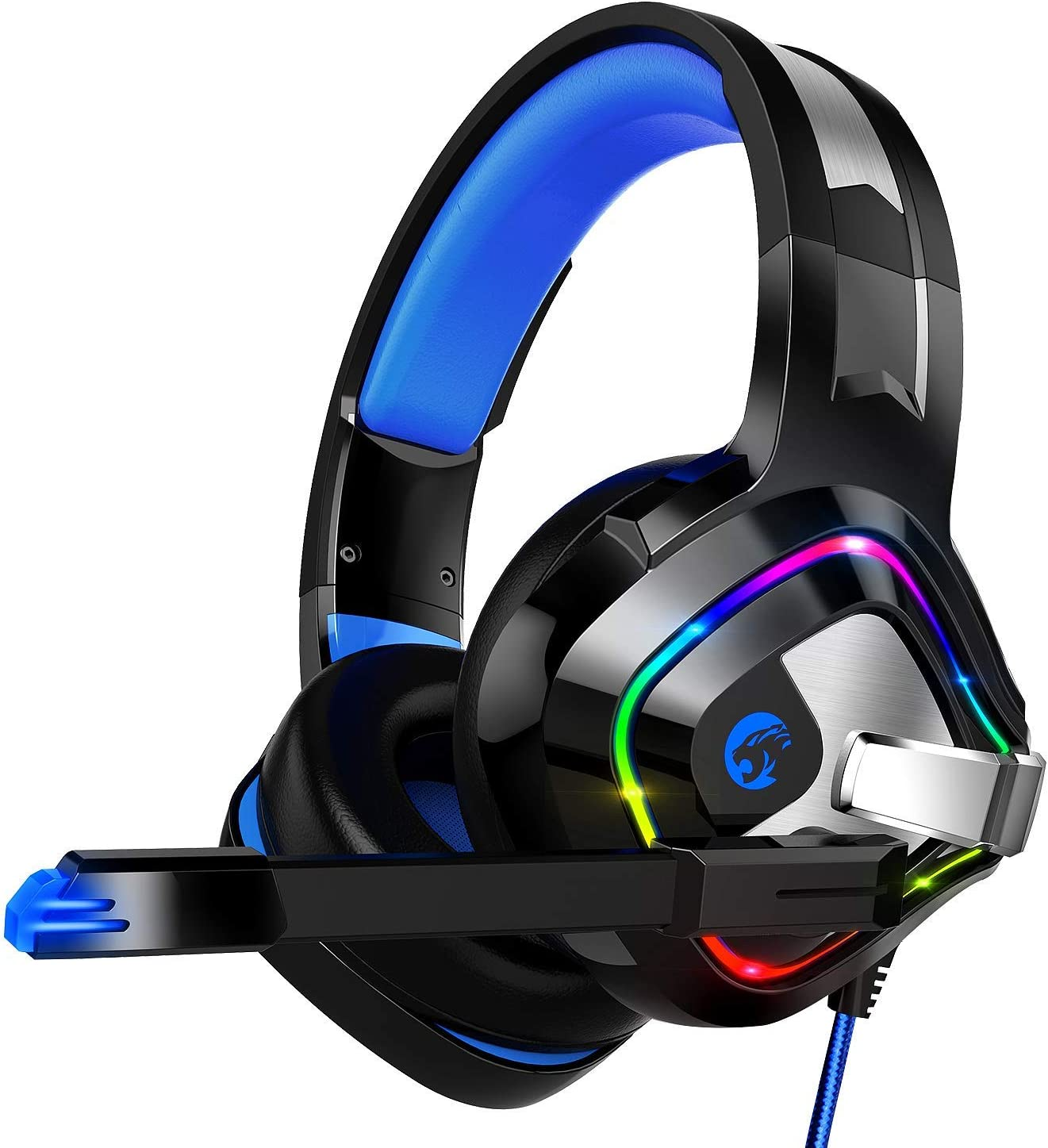 ZIUMIER Gaming Headset PS4 Headset, Xbox One Headset with Noise Canceling Mic RGB Light, PC Headset with Stereo Surround Sound, Over Ear Headphones for PC, PS4, Xbox One, Laptop Renewed