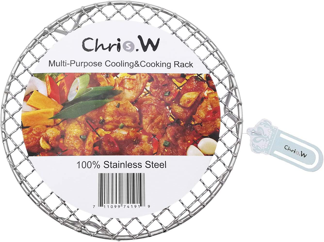 Chris.W Multi-Purpose Round Cooling and Baking Rack, 3 Legs Design for Cooking, Roasting, Drying, Grilling, 100 Stainless Steel(7.5 Inch Dia)