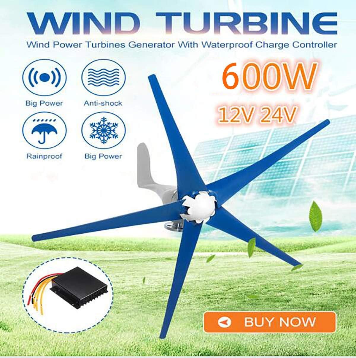 Tqing Las turbinas de Viento Generador-600W 12V / 24V 5 láminas horizontales generador de Viento del Molino de Viento con el regulador de Carga de energía Turbinas,24v: Amazon.es: Deportes y aire libre