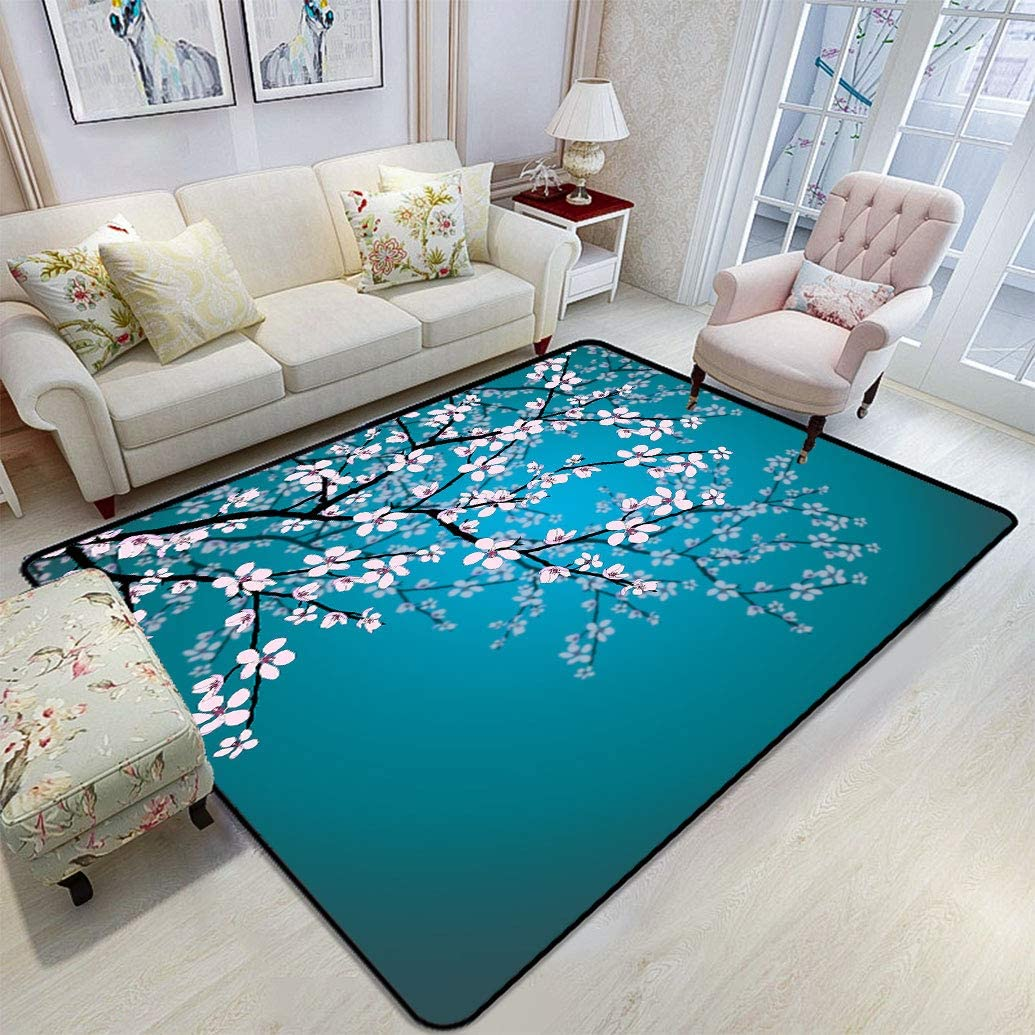 Amazon Com Teal Pink Blossoms Decor Area Rug Leaves And Plants Ombre Spring Sakura Flowers In Garden Park Fluffy Rugs Floor Mats Carpets With Anti Skid 6 X 9 Petrol Blue Pink Kitchen