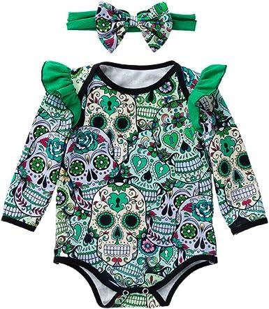 Newborn Boys Girls Long Sleeve Skull Print Cotton One-Piece Bodysuit Cloth WARMSHOP Halloween Romper Jumpsuit