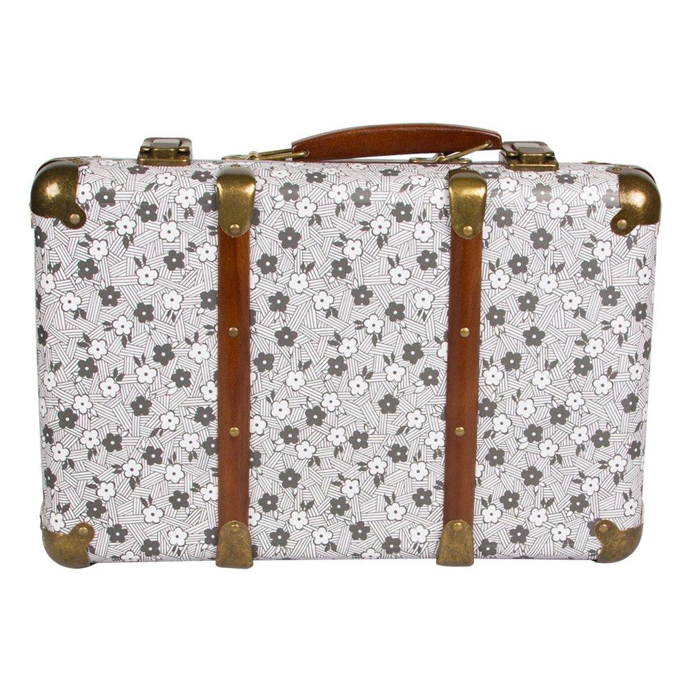 Vintage Floral Large Suitcase Storage Box   Simone Grey U0026 White Floral:  Amazon.co.uk: Kitchen U0026 Home
