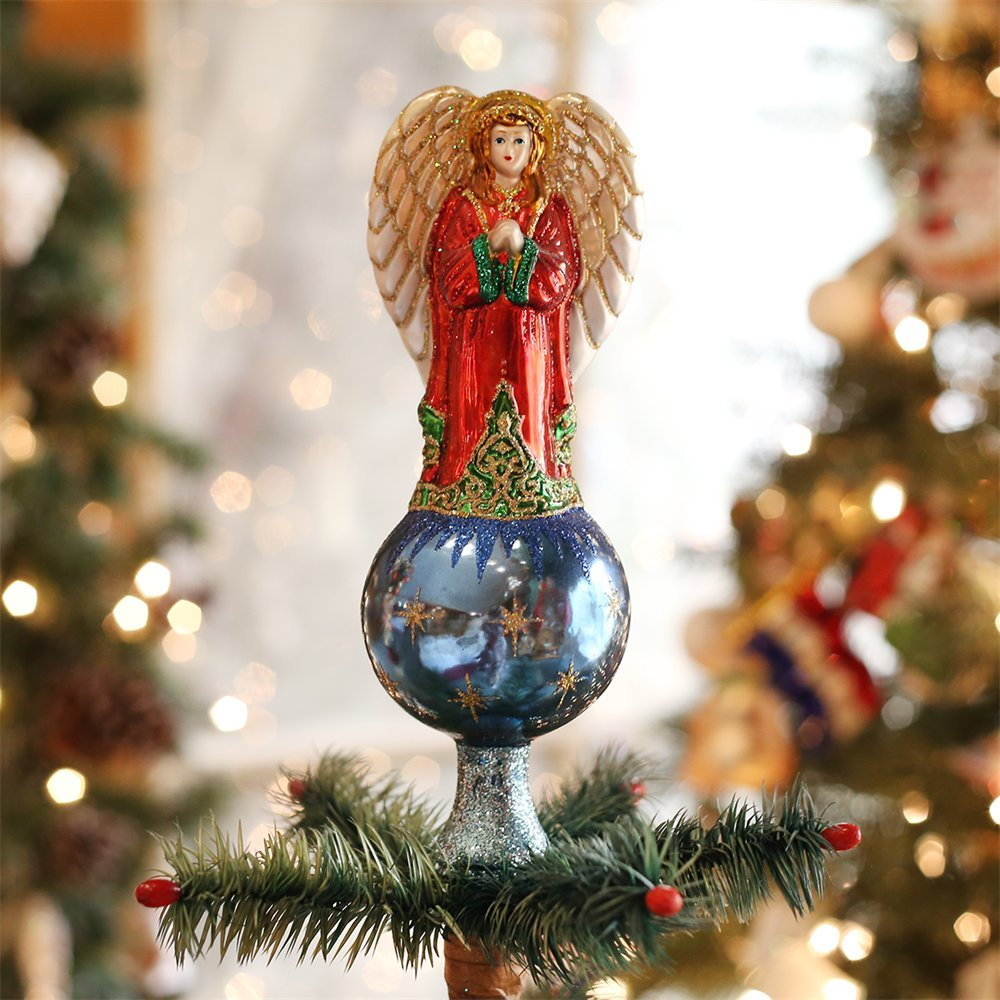 ANGEL TREE TOPPER 8'' Glass Old World Christmas NEW