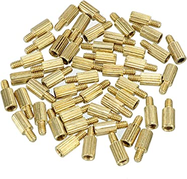 uxcell 100pcs M2 18 3mm Male Thread Brass Round Standoff Spacer Screw PCB Pillar