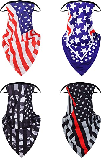 4PCS Neck Gaiters Face Cover Bandana with Ear Loops for Men Women Black,Grey,Purolr,Blue UV Sun Protection Reusable Triangle Mask Scarf Cycle Balaclava