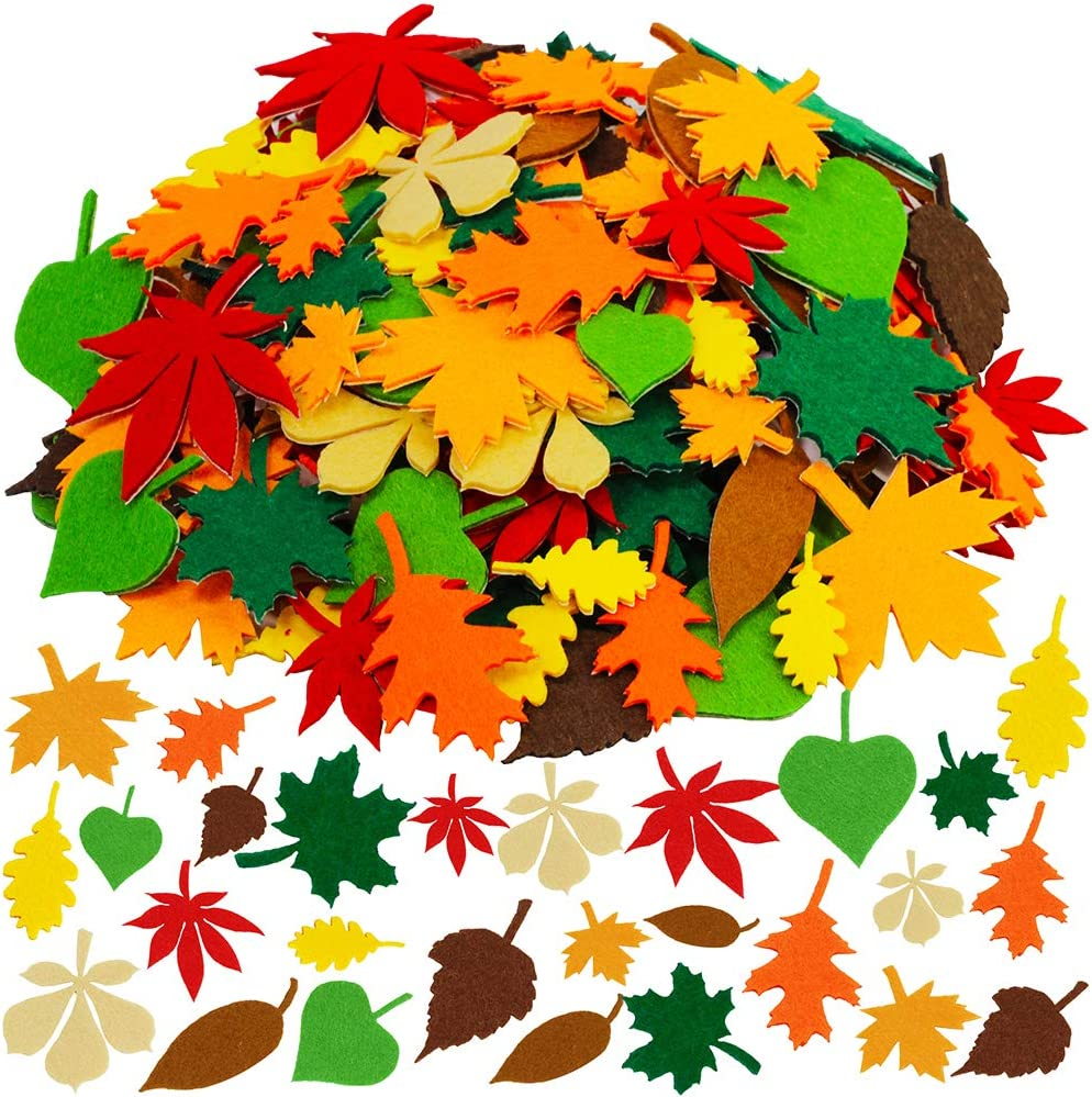 Supla Fall Maple Leaf Stickers Felt Stickers Assorted Self-Adhesive Autumn Leaves Cutouts Stickers for Kids Fall Craft Scrapbooks Cards Thanksgiving Embellishments 504 Pack 12 Fall Colors 3 Sizes