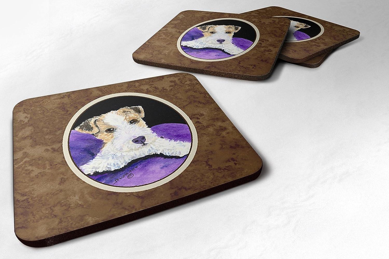 3.5 H x 3.5 W Multicolor Carolines Treasures SS8971FC Fox Terrier Foam Coasters Set of 4