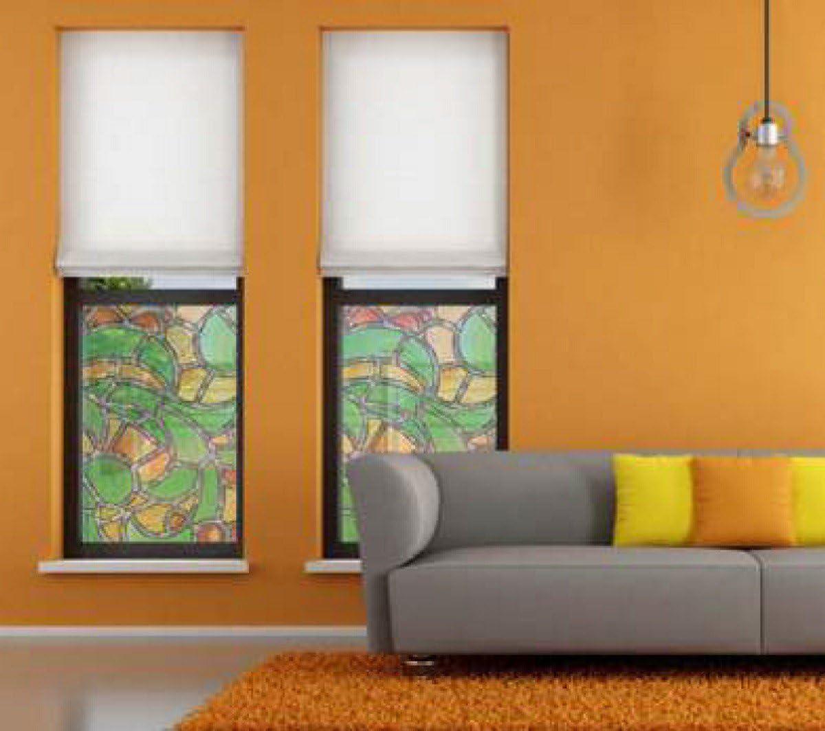 Adhesivo para ventanas de coloures de Niza - papel decorativo para cristal de plomo del protector de pantalla de cristal con aspecto de lámina autoadhesiva 0,45 M x 2,00 M: Amazon.es: Hogar