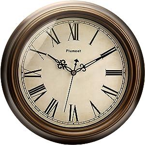Plumeet Large Retro Wall Clock - 13'' Non Ticking Classic Silent Roman Clocks Decorative Kitchen Living Room Bedroom - Battery Operated (13, Bronze)